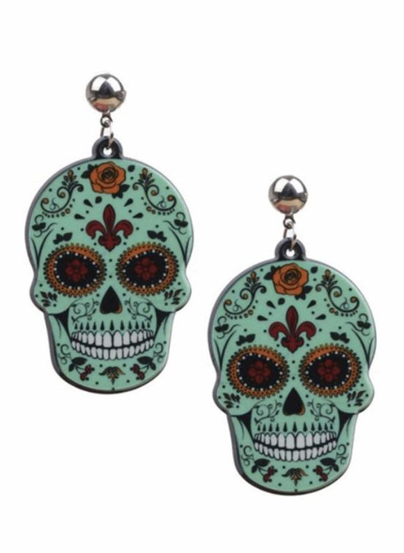 Acrylic Skull Earrings-Green, Multi