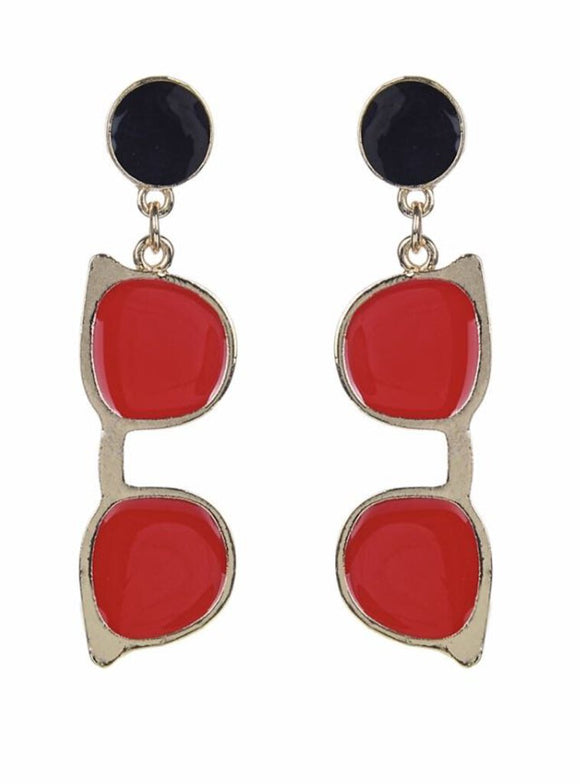 Sunglass Earrings, Red, Black
