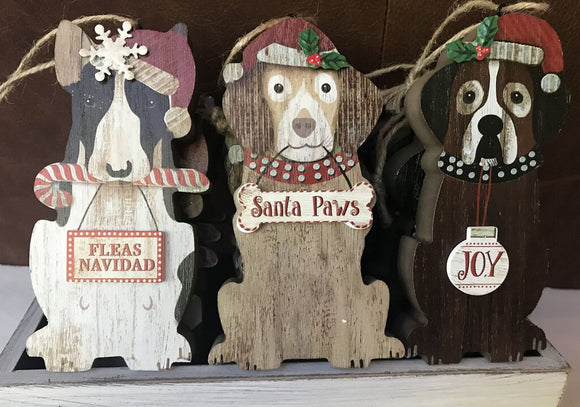 14110 Dog Ornament, Wood, Assorted Crate, 3x5.5