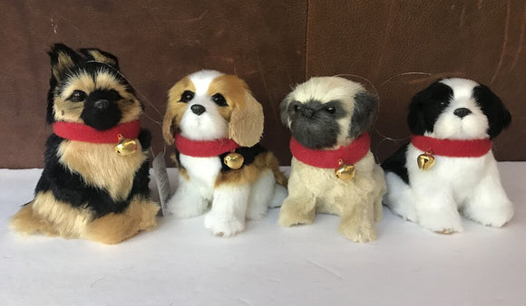 14124-Plush Dog Ornament, 4
