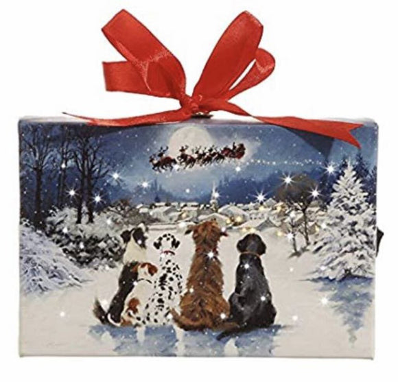 13703-Dogs Watching Santa LIGHT-UP Easel, 6