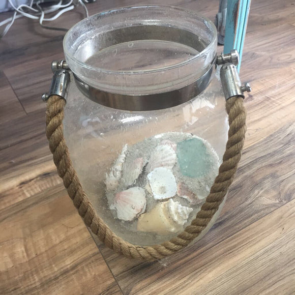 Bubbles Glass Candle Holder With Sand And Shells
