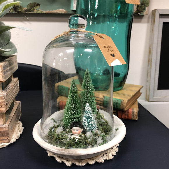 Holiday Cloche w/ trees and vintage girl