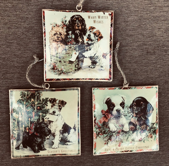 14162 Christmas Dogs Orn, Metal/Plaid 4.5