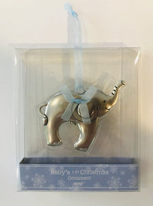 14165 Baby Elephant Ornament, Boy (Boxed)