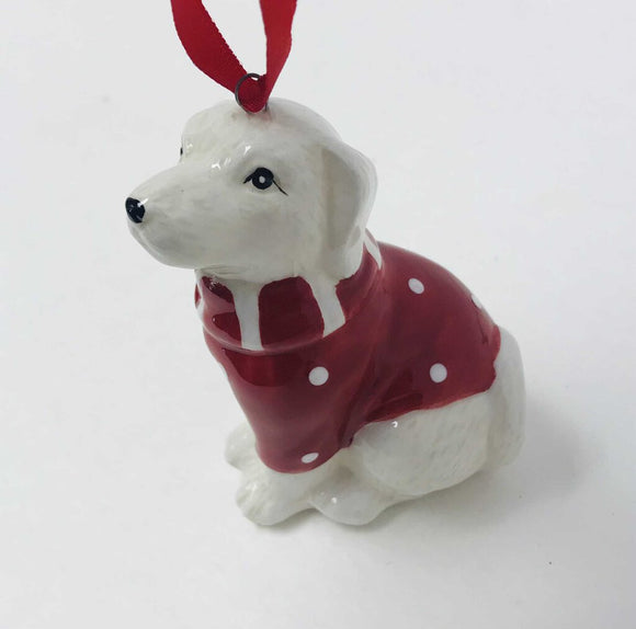 14181 Dog w/Santa Hat Ornament, Assorted, Ceramic