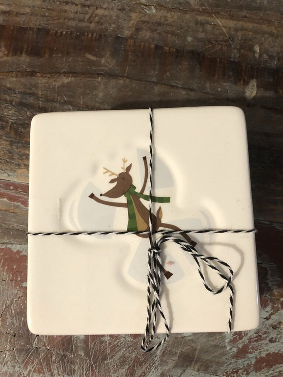 Set of Four Holiday Coasters 4.5x4.5