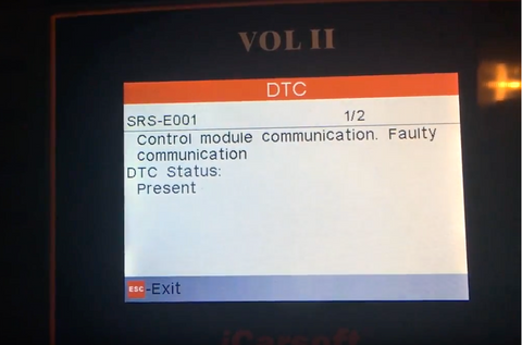 Volvo SRS-E001 Faulty Communication