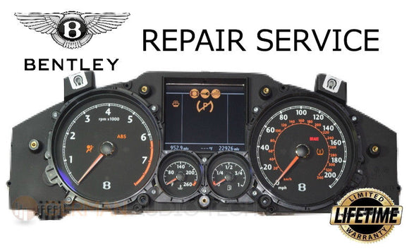 REPAIR SERVICE for BENTLEY CONTINENTAL GT INSTRUMENT SPEEDOMETER CLUSTER 2004 - 2010