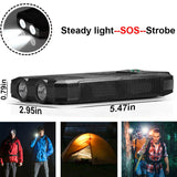 Portable External Solar Power Bank + Flash Light 2USB Battery Charger for Cell Phone Survival Camping