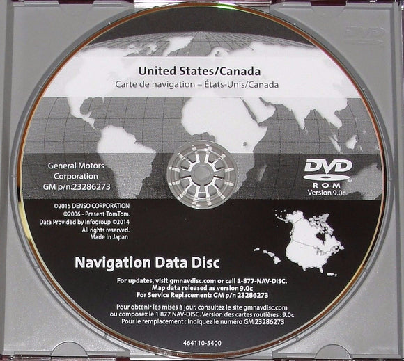 Newest Version 2016 Maps for 2007 2008 2009 2010 2011 GM GMC HUMMER CADILLAC CHEVROLET TAHOE SUBURBAN AVALANCHE SILVERADO GPS NAVIGATION CD DVD UPDATE DISC p/n: 23286273 ver 9.0C