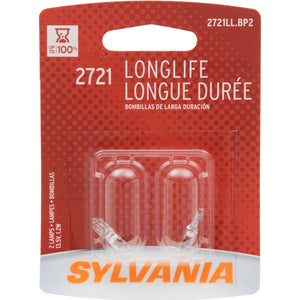 SYLVANIA 2721 Long Life Miniature Bulb, (Contains 2 Bulbs)