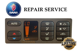 REPAIR SERVICE for SAAB 93 (ACC) CLIMATE CONTROLLER PIXEL DISPLAY 1998-2003
