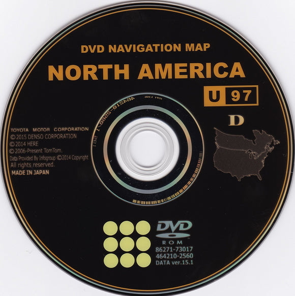 TOYOTA SCION and LEXUS NAVIGATION DVD V15.1 U97 2015 GENERATION 6 MAP UPDATE Disc