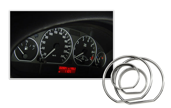 Chrome Gauge Ring Set for 1999-2006 BMW E46 3-Series M3 Speedometer Cluster