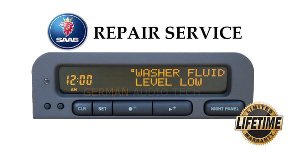 PIXEL REPAIR SERVICE for 1998 - 2003 SAAB 93 SID2 INFORMATION DISPLAY RADIO CLOCK
