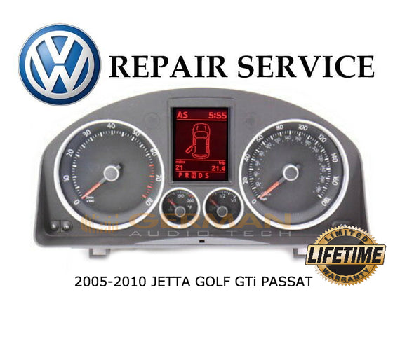 Repair Service for 2005 - 2010 Volkswagen VW Jetta GTi Golf Speedometer Instrument Cluster