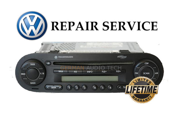 REPAIR SERVICE for VOLKSWAGEN NEW BEETLE CD PLAYER RADIO MONSOON MP3 1998 - 2011