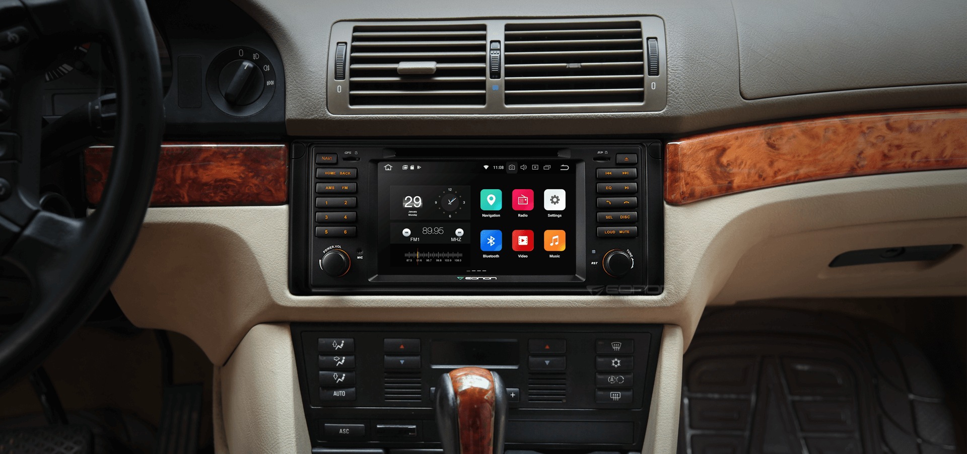 bmw e39 5 series m5 7 digital touch screen android ios. Black Bedroom Furniture Sets. Home Design Ideas