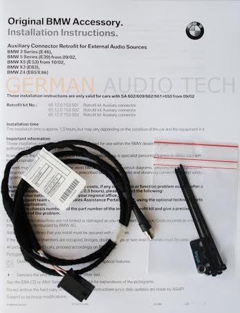 Bmw E39 E53 5 Series X5 Cd Player Radio Mp3 Aux Auxiliary Input Adapter Cable Kit