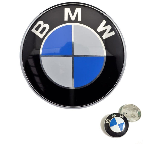 New BMW Hood Roundel Emblem Badge Chrome 82mm 2 PINS