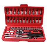 46pc Spanner Socket Screwdriver Set 1/4 Car Repair Tool Ratchet Wrench Set Tool