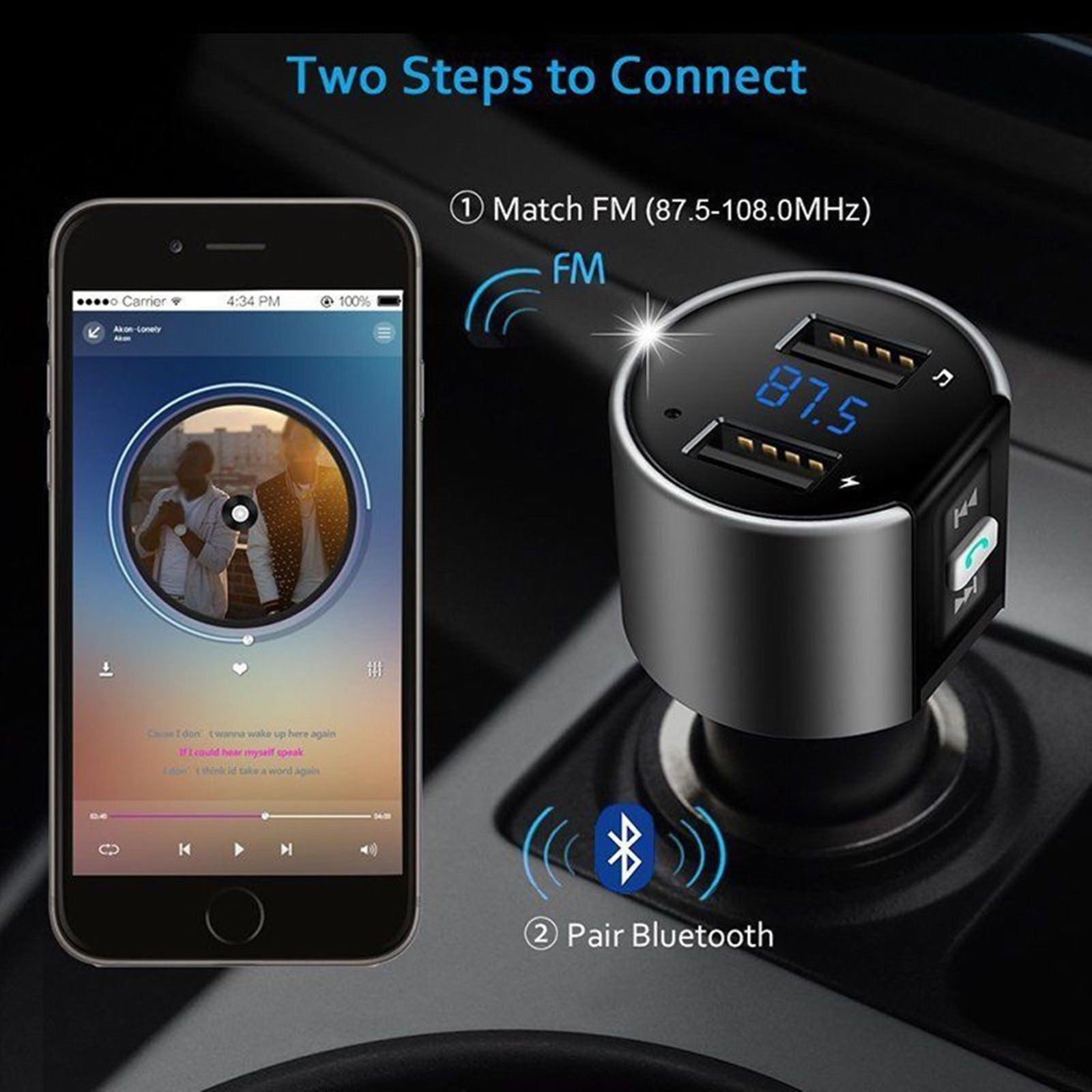 Bluetooth FM Transmitter Car Cigar Plug MP3 Player Radio Adapter Kit USB Charger