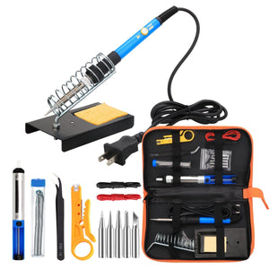 Electronics Soldering Iron Tool Kit 110V 60W Adjustable Temperature Welding +Case