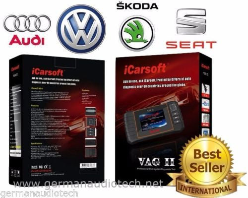 New iCARSOFT VAGII for AUDI VOLKSWAGEN VW SKODA SEAT OBD2 DIAGNOSTIC SCANNER TOOL ERASE FAULT CODES