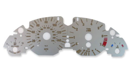 Platinum Silver Metallic Gauge Face Speedometer Cluster Overlay for E38 7-Series E39 5-Series E53 X5