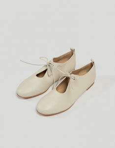 Monica Cordera leather Lace Shoes in cream. Available at FAWN Toronto.