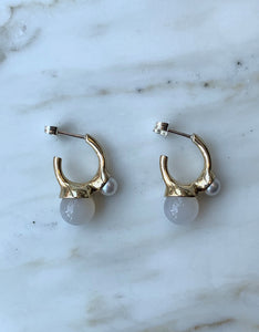Quarry brass and pearl Bua Earring, side. Available at FAWN Toronto.
