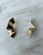 Load image into Gallery viewer, Quarry brass Elba Earring, side. Available at FAWN Toronto.