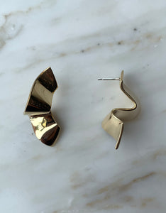 Quarry brass Elba Earring, side. Available at FAWN Toronto.