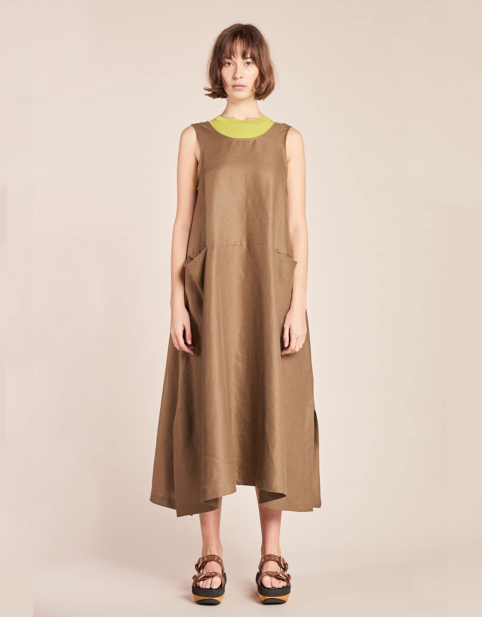 Model wears Kloke Luna Dress in Tobacco, styled layered over tank. Available at FAWN Toronto.