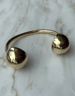 Load image into Gallery viewer, Quarry brass Opis Cuff, front. Available at FAWN Toronto.