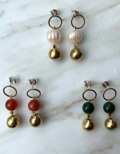 OCA-C Brass and Stone Ball Earrings. Available at FAWN Toronto.