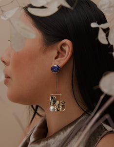 Faris silver and blue stone Badoula Earrings on model. Available at FAWN Toronto.