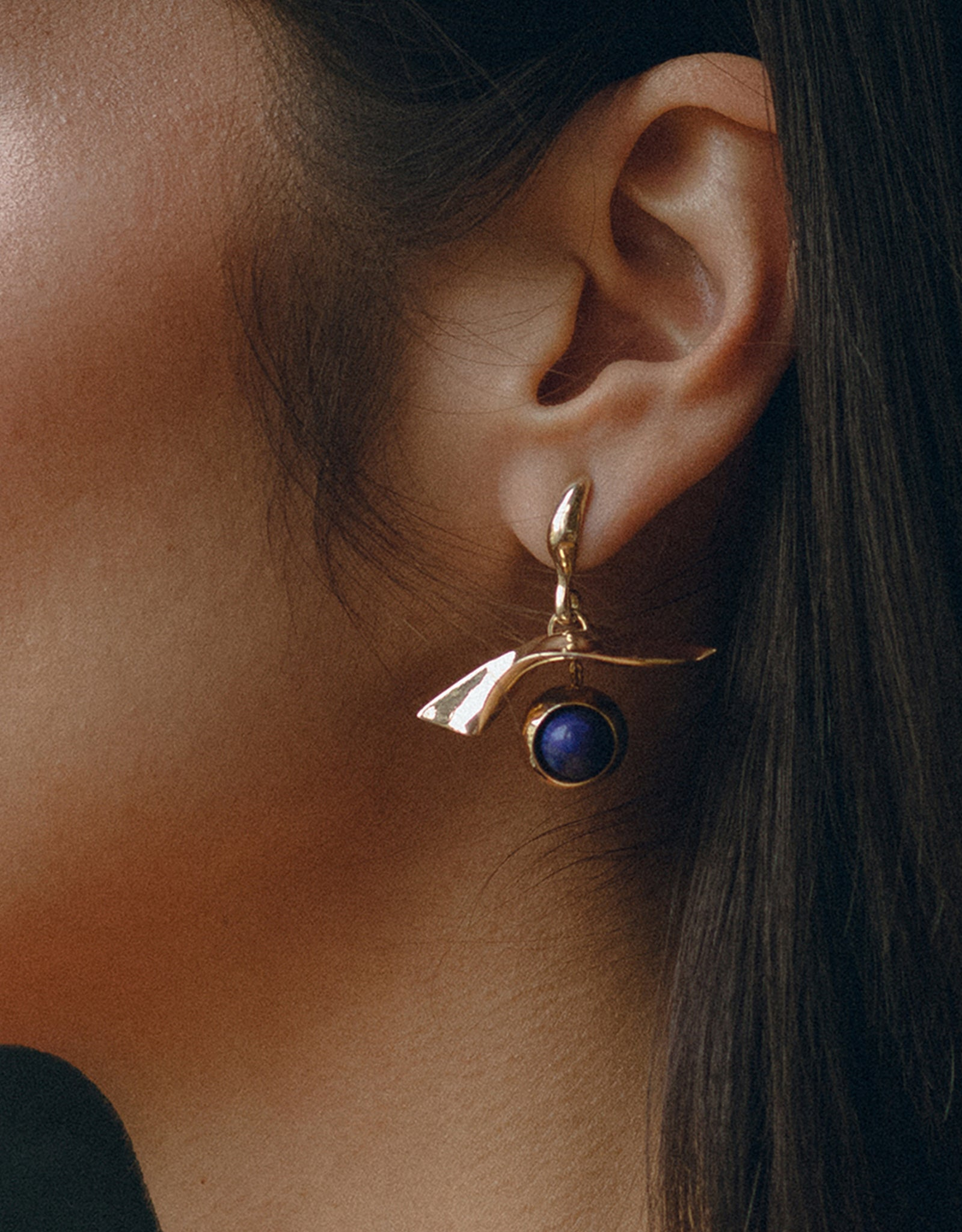 Faris delicate Gaze Earrings on model. Available at FAWN Toronto.