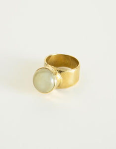 ORA-C brass and light green jade Jules Ring. Available at FAWN Toronto.