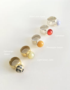 ORA-C assorted brass and stone Jules Rings. Available at FAWN Toronto.