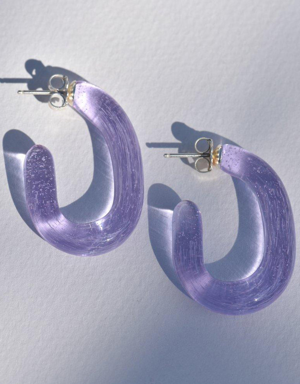 Luminous Glass Lavender Hoop Earrings by Leigh Miller. Available at FAWN Toronto.