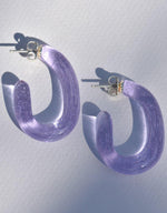 Load image into Gallery viewer, Luminous Glass Lavender Hoop Earrings by Leigh Miller. Available at FAWN Toronto.