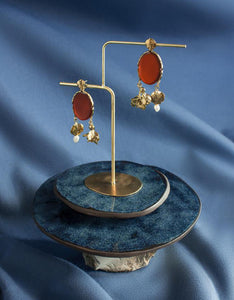 ORA-C brass, carnelian, and pearl Louisette Earrings. Available at FAWN Toronto.