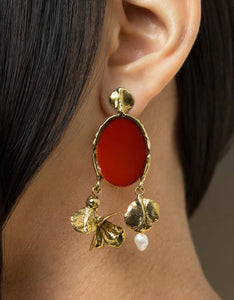 ORA-C brass, carnelian, and pearl Louisette Earrings on model. Available at FAWN Toronto.