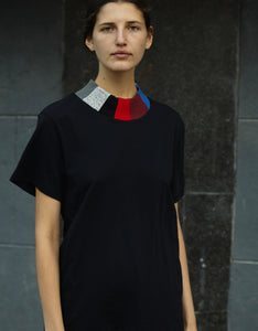 Model wears Correll Correll Mosaic Collar T-Shirt. Available at FAWN Toronto.
