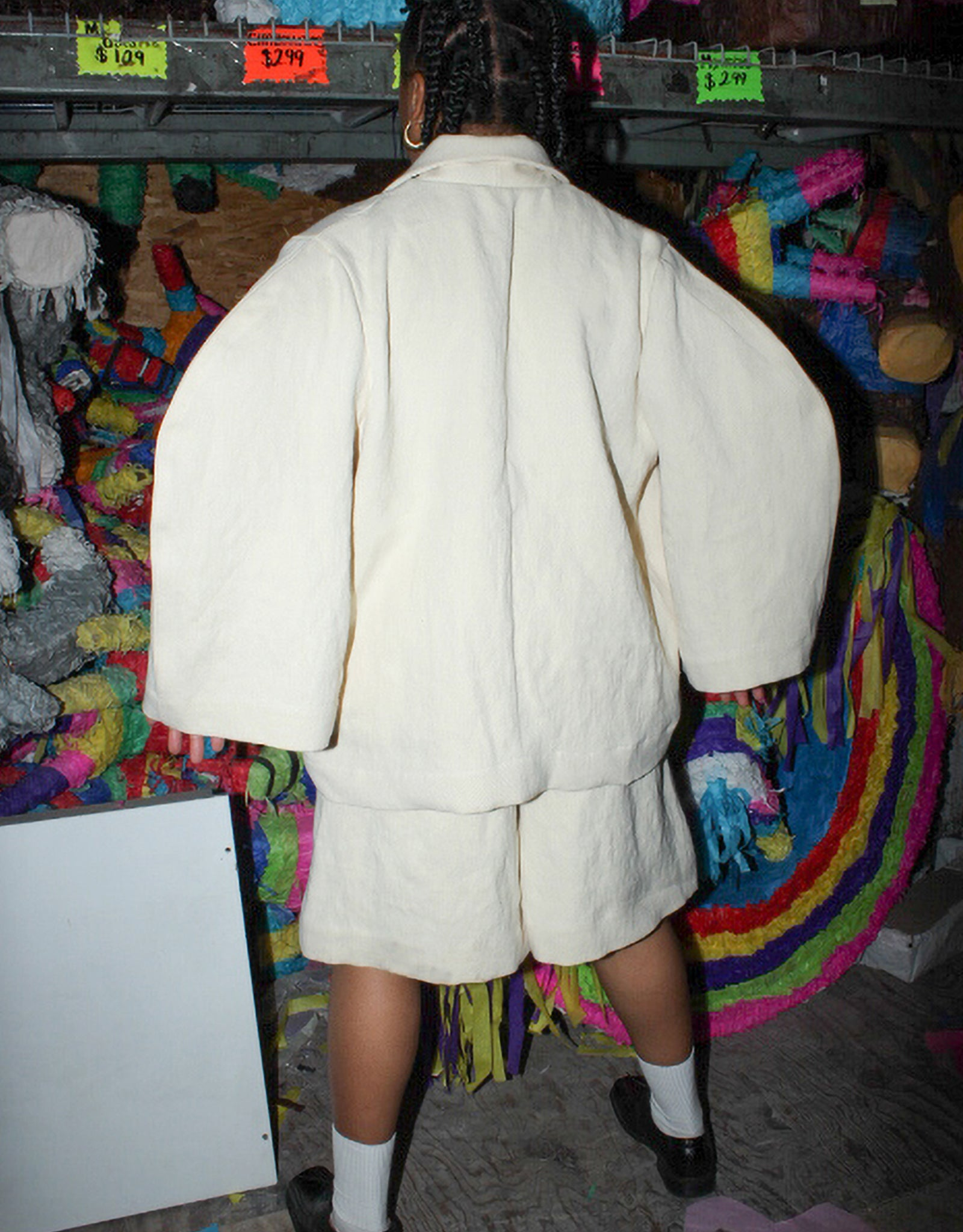 Model wears Nancy Stella Soto Rounded Sleeve Hemp Jacket in Ivory, back. Available at FAWN Toronto.