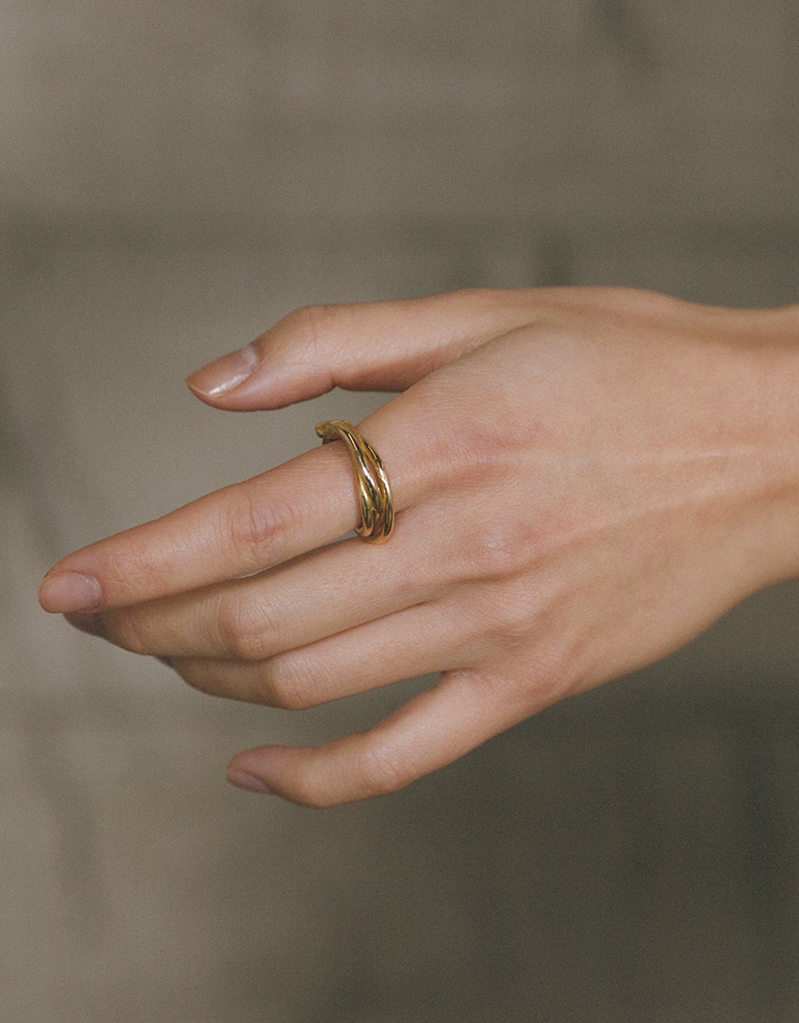 Faris bronze Tangle Ring on hand. Available at FAWN Toronto.