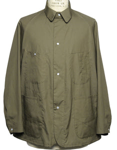 Monitaly Western Coverall Shirt in Olive. Available at FAWN Toronto.