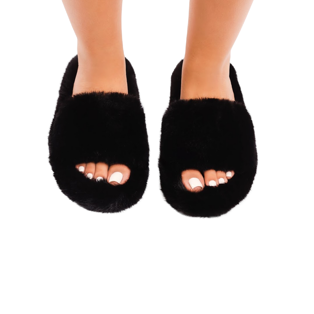 Casey furry slippers (Black)